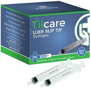10ml Syringe Without Needle Luer Slip 100 Pack By Tilcare Sterile Plastic M