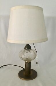 Antique Oil Lamp Electrified Brass Base Glass Euc Shade Not Included 9 5