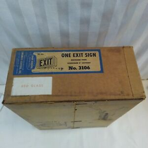 Vintage Day Brite Red Glass Metal Housing Exit Sign New In Box 3106