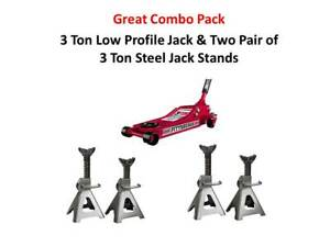 3 Ton Low Profile Floor Jack Pair Of 3 Ton Jack Stands Great Combo Pack