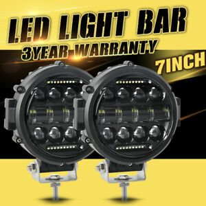 2x 7inch Led Work Light Fog Driving Lamp Combo Drl For Jeep Bull Bar 4wd Offroad