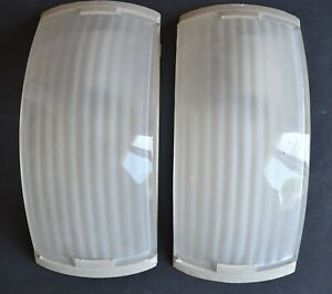 Vintage Pair Curved Glass Wall Light Sconces Frosted Ribbed Shades Art Deco Mcm