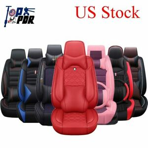 Deluxe Comfort Car Sit Covers 5seat Luxury Cushion Universal Pu Leather Full Set