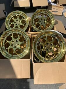 18x8 5 35 Aodhan Ds01 5x100 35 Gold Vacuum Wheels Rims Used Set