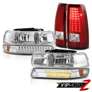 1999 2000 2001 2002 Silverado Z71 Euro Led Chrome Headlight Red Brake Tail Light