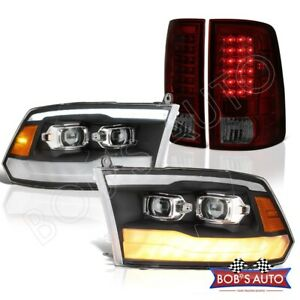 For 09 18 Ram 1500 2019 Style Black Headlight Led Signal Red Smoke Tail Lights