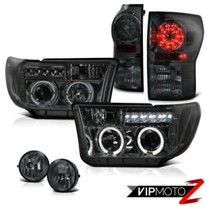 For 07 13 Toyota Tundra Halo Projector Smoke Headlight led Tail Light fog Lamp