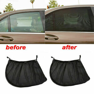 2x Car Rear Side Window Sun Shield Sunshade Uv Protection Visor Shade Mesh Cover