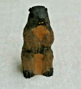 Vintage Hand Carved Wooden Sculpture Beaver Statue 3 1 2 Tall Vnc