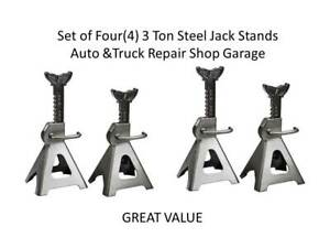 Set Of Four 4 3 Ton Steel Jack Stands Auto Truck Repair Shop Garage