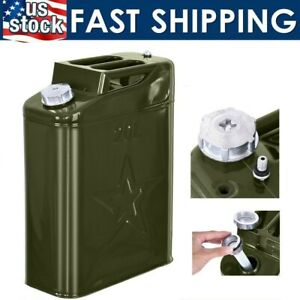 Jerry Can 20l Liter 5 Gallons Steel Tank Fuel Gas Gasoline Green Us Stock