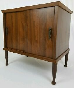 Mid Century Record Album Cabinet End Table Stereo Stand Vintage