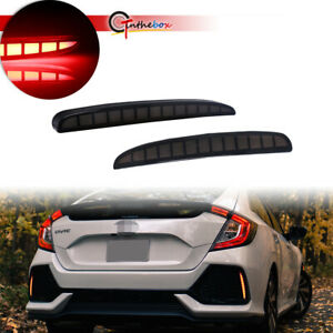 Smoked Rear Bumper Reflector Brake Signal Light For Civic Type R Hatchback 17 20