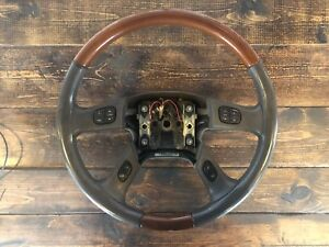 2005 Cadillac Escalade Leather Wood Steering Wheel Pewter With Switches