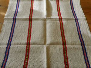 Antique Vtg Basque French Towel Textured Cotton Linen Fabric Red Blue