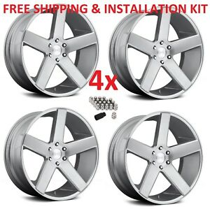 24 24x10 6x139 7 Wheels Rims Dub S218 Baller Silver Brushed Set 4 Giovanna