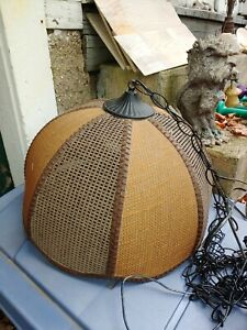 Vintage 1950s Wicker Bamboo Hanging Cieling Lamp Rare
