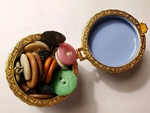 Porcelain Gold Hinged Blue Trinket Box Ceramic Flowers Filled Antique Vtg Button