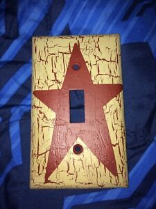 Primitive Crackle Tan Maroon Star Single Light Switch Plate Country Decor