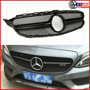 Black C63 Amg Honeycomb Grill Grille For Mercedes Benz W205 C200 C180 14 18