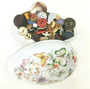 74 Porcelain Avon Trinket Butterflies Flowers 22k Gold W Vtg Antique Buttons