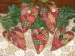 5 Patchwork Cat Hearts Wreath Accents Handmade Country Home Decor Springtime