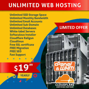 1 Year Cpanel Unlimited Ssd Web Hosting Free Ssl Softaculous Cloudlinux