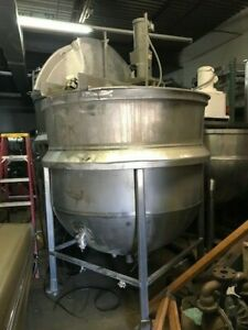 Hicks 600 Gallon Stainless Steel Jacketed Kettle With Agitation