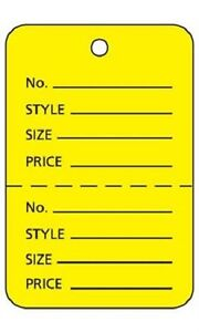 3000 Perforated Tags Price Sale Large 1 X 2 Two Part Yellow Unstrung