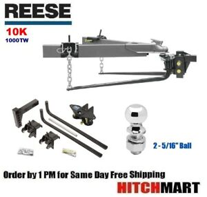 10k 1000 Tw Round Bar Weight Distribution Trailer Hitch W Shank 2 5 16 Ball