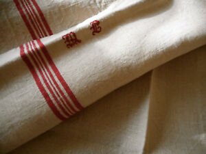 Antique Vtg French Rustic Towel Linen Fabric Red Ticking Stripe Mono Mc Or Ml