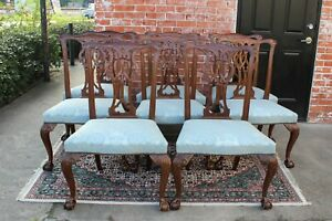 Set Of 8 Upholstered Chippendale Baker Dining Room Chairs Mahogany Ball