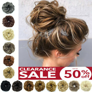Real Thick Curly Messy Bun Hair Piece Scrunchie 100% Natural Hair Extensions 89I $6.45