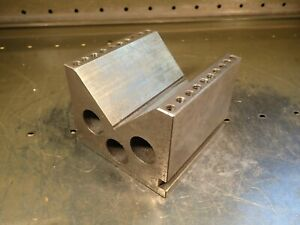 5 1 8 X 5 1 8 X 4 1 8 High Machinist Hold Down V block 3 3 4 Wide Vee Used