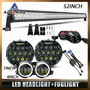 52 Roof Led Light Bar 7 black Led Headlight 4 Fog Lamp For Jeep Wrangler Jk