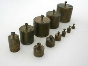 Vintage Brass Scale Weights 11 Assorted Sizes Pharmaceutical Chemists Weights