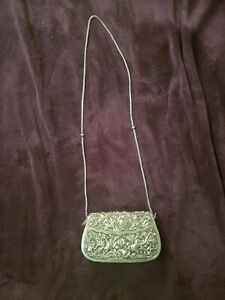 Rare Vintage Repousse Sterling Silver Qing Dynasty Handbag Purse
