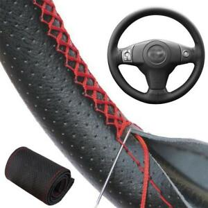 Black Red Pu Leather Car Diy Steering Wheel Cover 38cm W Needles And Thread Kit