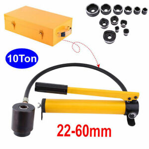 10 Ton 6 Dies Hydraulic Knockout Punch Driver Kit Hole Hand Tool Conduit 22 60mm