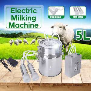 5l Electric Milking Machine Vacuum Impulse Pump Stainless Steel Cow Goat Milker