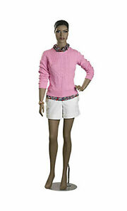 Full Body Female Mannequin Metal Base Black African Chest 32 5 11 Fiberglass