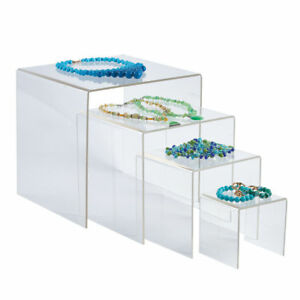 6 Sets Of 4 Nested Clear Acrylic Risers Displays Clear Jewelry Display
