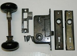 Vintage Antique Black Ceramic Lock Set W Deadbolt Catch Plate Original Screws