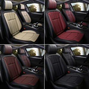 Breathable Leather Car Seat Cover Waterproof 5 Seats Full Set Front Rear Cover
