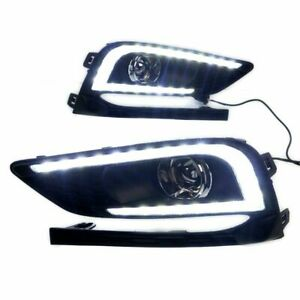 1x Pair Abs Drl Fog Lights Led Withturn Signal For Chevy Cruze 2016 2017 2018