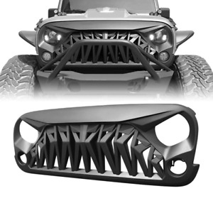 Front Matte Black Shark Grill Grille Cover For 07 2018 Jeep Wrangler Jk Jku