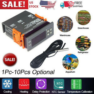 Mini Digital 110v Temp Controller Thermostat 58 194 Fahrenheit Sensor 10a B4s0