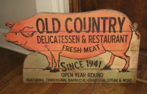 Big Meat Market Pig Trade Sign Primitive Farmhouse French Country Kitchen Decor