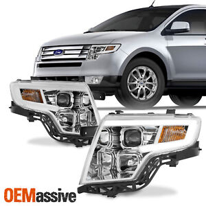 For Ford Edge 2007 2010 Led Light Bar Drl Projector Headlights Chrome Housing