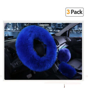 3 Fur Car Steering Wheel Cover Thick Furry Fluffy Warm Winter Gem Blue 36 38cm
